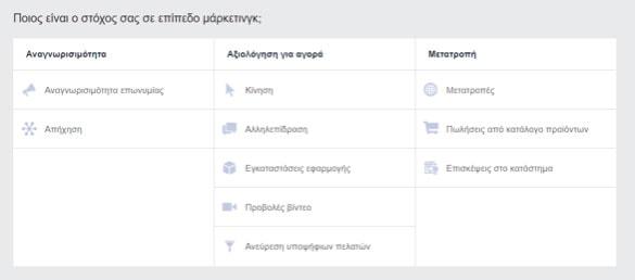 facebook ads - goals